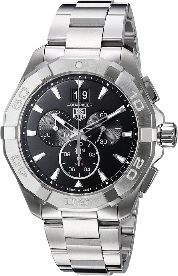 "<p>Chronograph 43mm</p><p><a class=""body-btn-link"" href=""https://www.amazon.co.uk/TAG-Heuer-CAY1110-BA0927/dp/B019RAGAVG?tag=hearstuk-yahoo-21&ascsubtag=%5Bartid%7C1923.g.33457947%5Bsrc%7Cyahoo-uk"" target=""_blank"">SHOP</a></p><p>As with most <a href=""//www.esquire.com/uk/style/watches/g32127494/best-dive-watches/"" target=""_blank"">diving watches</a>, the Aquaracer's largest customer base is comprised of people with no intention of ever leaving dry land. Still, this tool watch remains a professional piece of kit, introduced in 2003 after its forerunner, the Aquagraph, had been tested by the Navy Seals. Its viability as a diving watch proved all the more impressive given it was a chronograph – ie: it had moving parts to go wrong. Setting the standard in design and appearance ever since.</p><p>£1,550; <a href=""https://www.amazon.co.uk/TAG-Heuer-CAY1110-BA0927/dp/B019RAGAVG"" target=""_blank"">amazon.co.uk</a></p>"