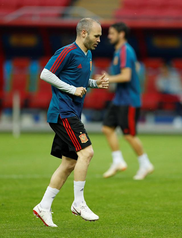 Soccer Football - World Cup - Spain Training - Kazan Arena, Kazan, Russia - June 19, 2018 Spain's Andres Iniesta during training REUTERS/John Sibley