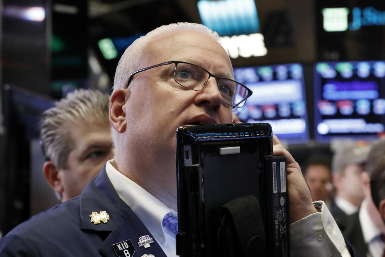 <p> FILE- In this Oct. 11, 2018, file photo trader Thomas Ferrigno works on the floor of the New York Stock Exchange. The U.S. stock market opens at 9:30 a.m. EDT on Tuesday, Oct. 16. (AP Photo/Richard Drew, File) </p>