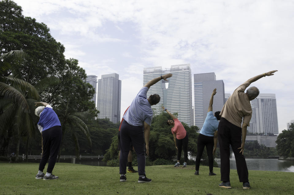 A group of mixed senior citizen at the park doing simple exercises with the skyline of a city in the background