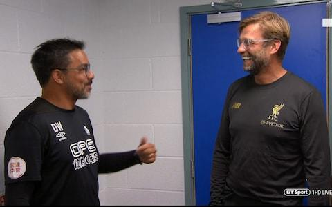 Wagner and Klopp share a joke before kick-off - Credit: BT SPORT