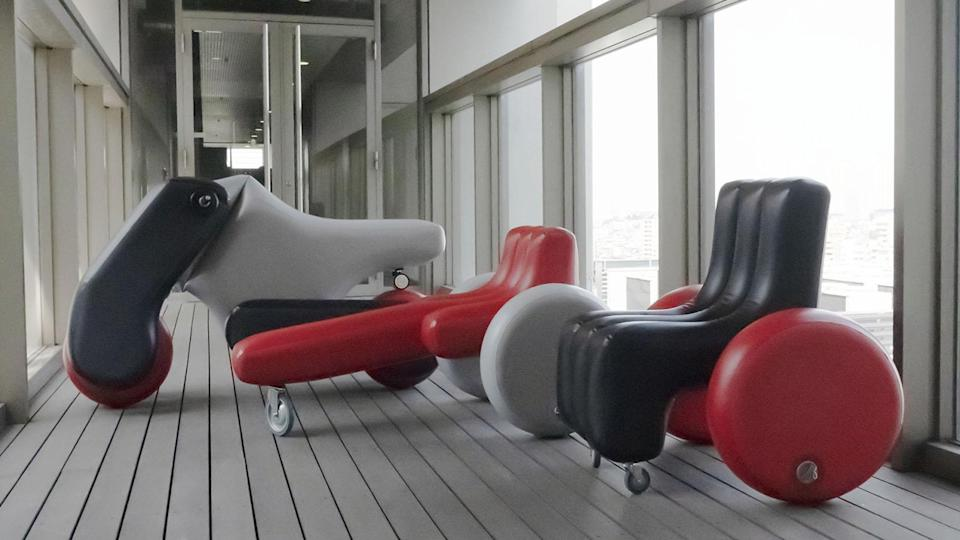 Three different personal mobility devices designed by the ultra-inventive Poimo company.