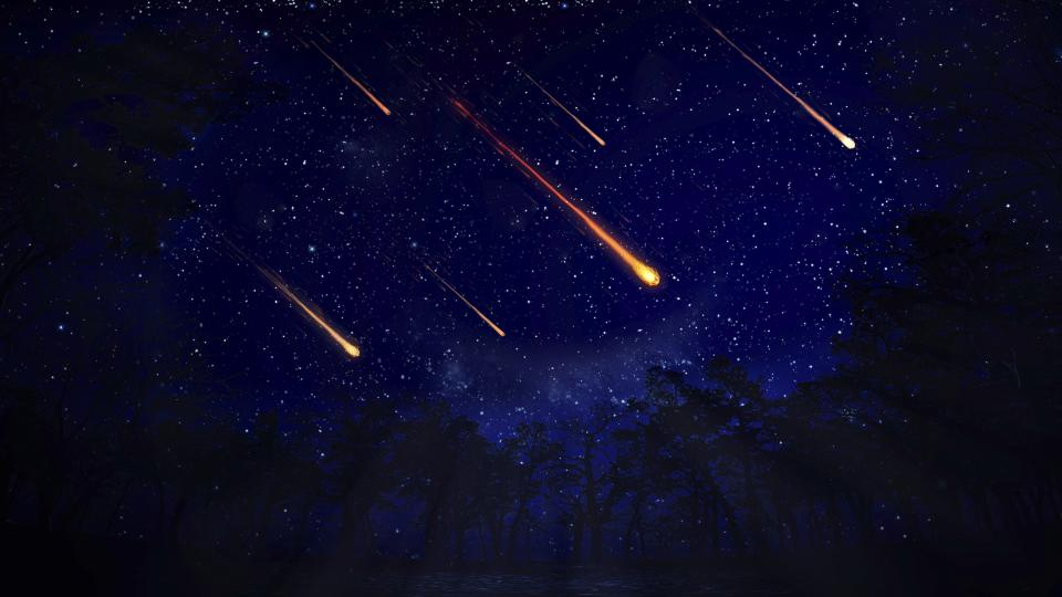 Artwork of a meteor shower at night.