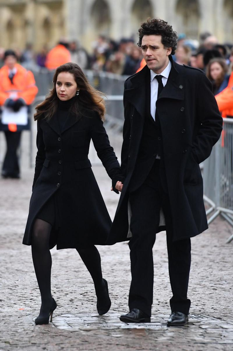 Felicity Jones, who played Hawking's wife in a film about his life arrives at the funeral. Photo: AAP