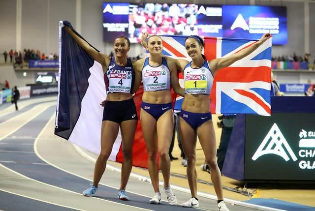 Niamh Emerson (centre) was second behind Katarina Johnson-Thompson at the 2019 European Indoor Championships. (Jane Barlow/PA)