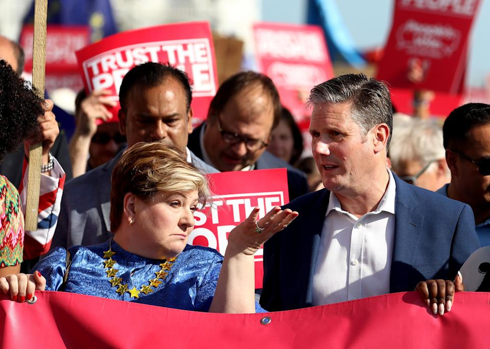 Shadow foreign secretary Emily Thornberry and shadow Brexit secretary Sir Keir Starmer at the anti-Brexit 'Trust the People' march and rally during the 2019 Labour conference. (Photo: PA Wire/PA Images)