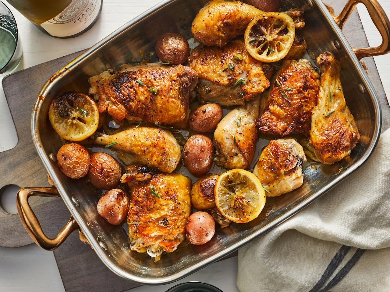 """<p>Nicknamed """"Anytime Chicken"""" by Test Kitchen Specialist Vanessa McNeil Rocchio, this winner of a chicken dinner is our new favorite roasting-pan supper for weeknights or easy entertaining with friends.</p> <p><a href=""""https://www.myrecipes.com/recipe/rosemary-garlic-chicken-potatoes"""">Lemon-Rosemary-Garlic Chicken and Potatoes Recipe</a></p>"""