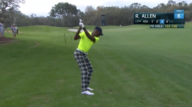 "<p>Surprise, surprise. Ray Allen sunk a shot from way out. </p><p>Allen teed it up Friday at the Diamond Resorts Invitational in Orlando and had what I can only assume is the shot of the day. With his third shot on the par-4 11th, Allen put it right in the jar from 122 yards out. </p><p>I like to imagine this is how Allen plays golf all the time, like he considers the green to be the golf equivalent of the paint and prefers to just bomb it from the perimeter. Still, when it comes to non-golfers hitting impressive golf shots, I'm still giving the nod to <a href=""https://www.youtube.com/watch?v=p4GgbWKcMVQ"" rel=""nofollow noopener"" target=""_blank"" data-ylk=""slk:Michael Phelps's 159-foot putt"" class=""link rapid-noclick-resp"">Michael Phelps's 159-foot putt</a>. </p>"