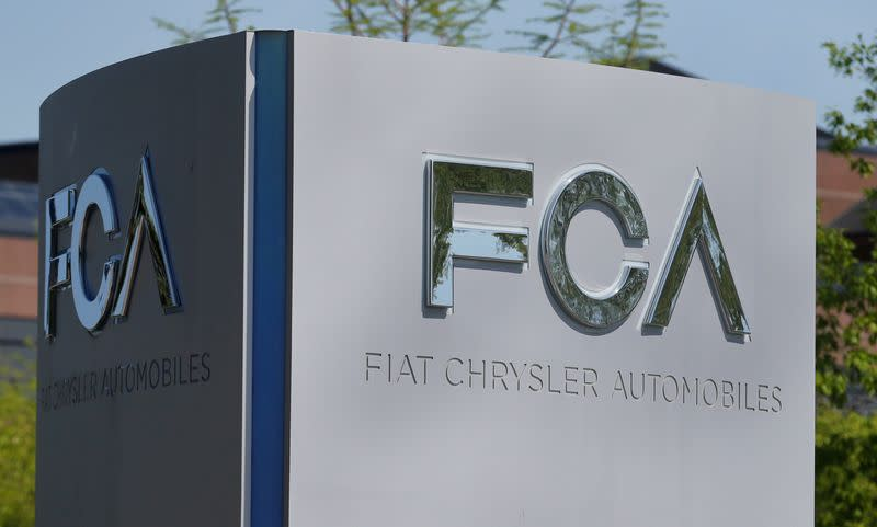 FILE PHOTO: FILE PHOTO: A Fiat Chrysler Automobiles sign at the U.S. headquarters in Auburn Hills, Michigan