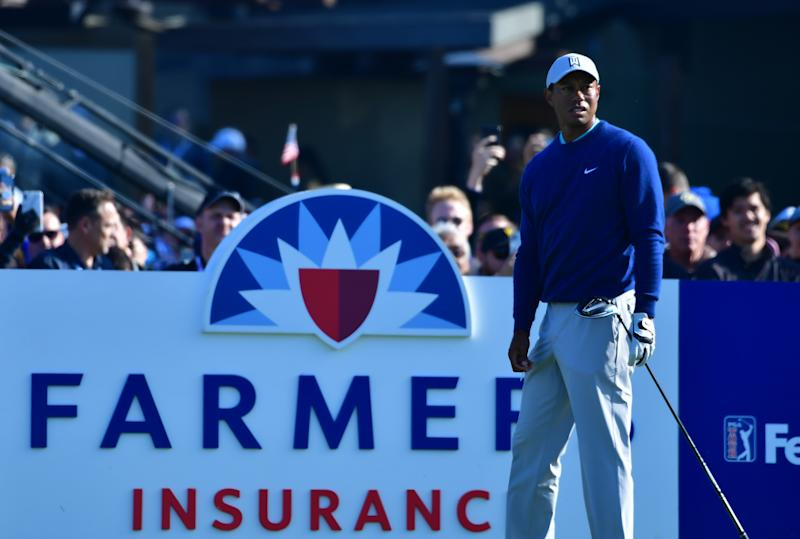 SAN DIEGO, CALIFORNIA - JANUARY 25: Tiger Woods waits to tee off on the first hole during the third round of the Farmers Insurance Open at Torrey Pines South on January 25, 2020 in San Diego, California. (Photo by Donald Miralle/Getty Images)