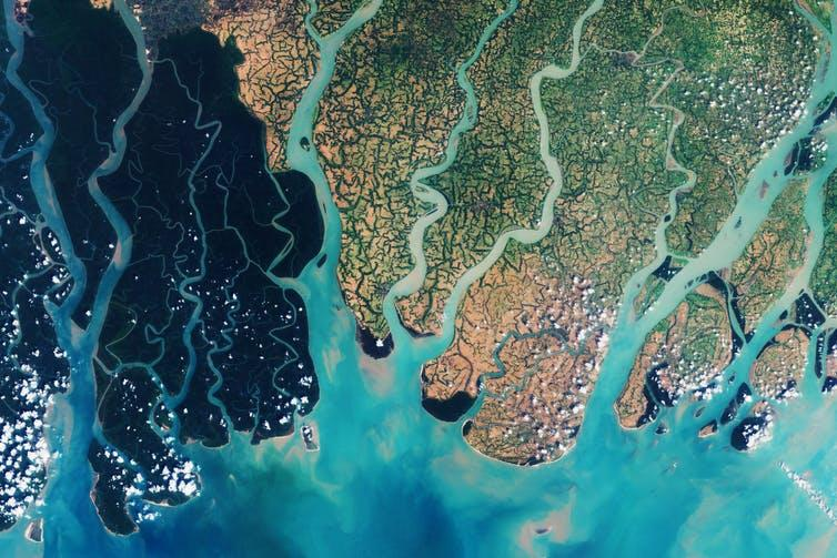 """<span class=""""caption"""">Satellite technology has made is possible to track coastal change from space.</span> <span class=""""attribution""""><a class=""""link rapid-noclick-resp"""" href=""""https://www.shutterstock.com/image-photo/view-space-on-sundarbans-vast-forest-1017488386?src=7wF7EZGzyc_o-1SUQXtvPQ-1-0"""" rel=""""nofollow noopener"""" target=""""_blank"""" data-ylk=""""slk:Lavizzara/Shutterstock"""">Lavizzara/Shutterstock</a></span>"""