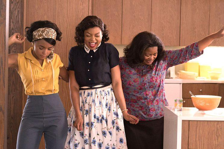 Mary Jackson (Janelle Monae, left), Katherine G. Johnson (Taraji P. Henson) and Dorothy Vaughan (Octavia Spencer) celebrate their stunning achievements in one of the greatest operations in history<br /> (Photo: Hopper Stone/Twentieth Century Fox)