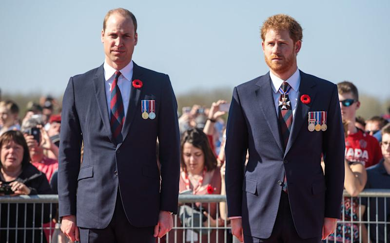 The Duke of Cambridge and Prince Harry arrive at the commemorative ceremony at the Canadian National Vimy Memorial in France, for the 100th anniversary of the Battle of Vimy Ridge - Credit: Jack Taylor/PA Wire