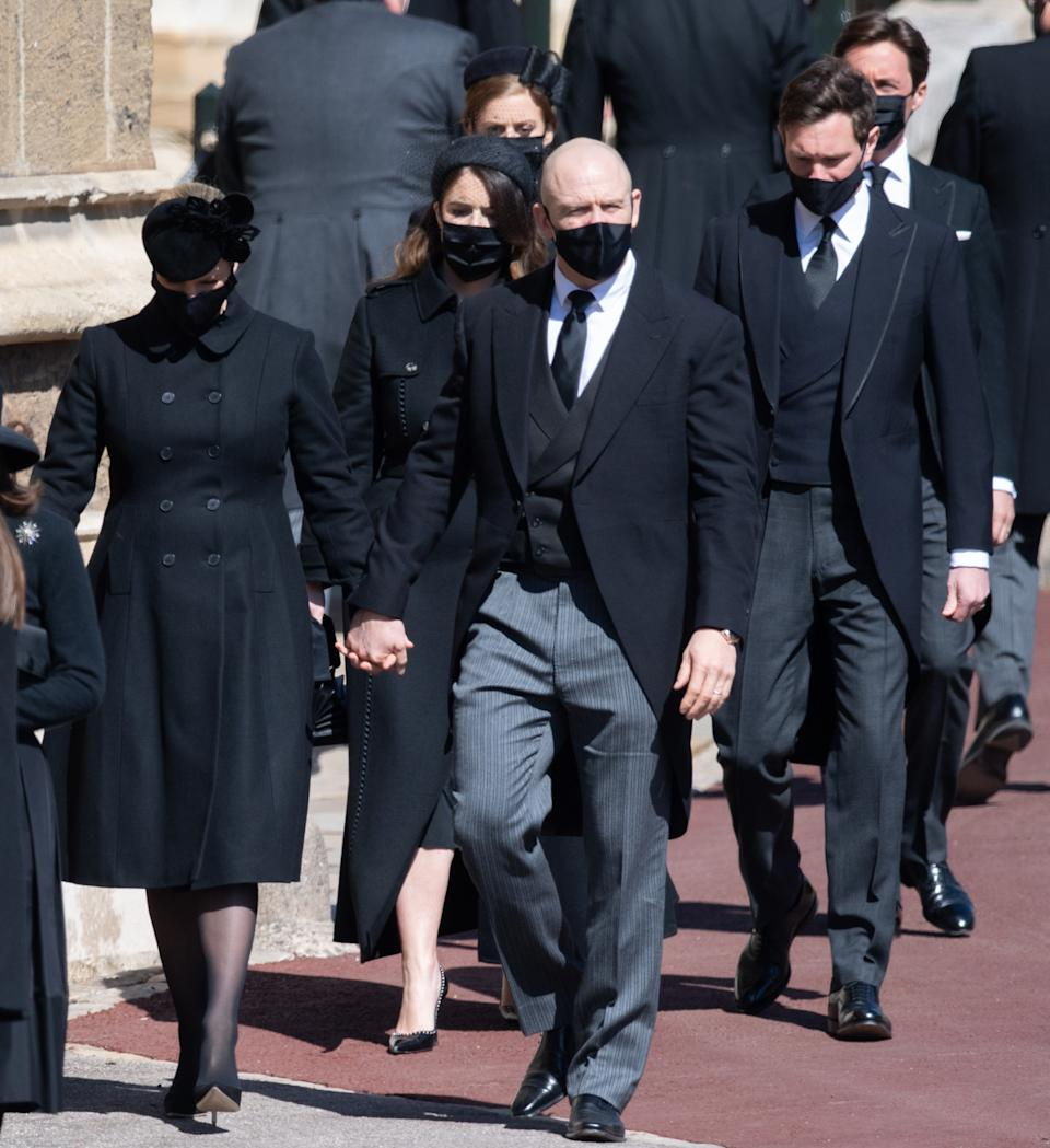 WINDSOR, ENGLAND - APRIL 17:  Zara Tindall, Mike Tindall, Princess Eugenie, Jack Brooksbank, Princess Beatrice and Edoardo Mapelli Mozzi  during the funeral of Prince Philip, Duke of Edinburgh on April 17, 2021 in Windsor, England. Prince Philip of Greece and Denmark was born 10 June 1921, in Greece. He served in the British Royal Navy and fought in WWII. He married the then Princess Elizabeth on 20 November 1947 and was created Duke of Edinburgh, Earl of Merioneth, and Baron Greenwich by King VI. He served as Prince Consort to Queen Elizabeth II until his death on April 9 2021, months short of his 100th birthday. His funeral takes place today at Windsor Castle with only 30 guests invited due to Coronavirus pandemic restrictions. (Photo by Pool/Samir Hussein/WireImage)
