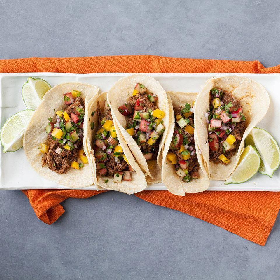 <p>The fresh salsa in this easy load-and-go taco recipe is a great way to use spring rhubarb. If you don't have rhubarb, try subbing in fresh tomatillos or red bell pepper for an equally beautiful and delicious taco topper.</p>