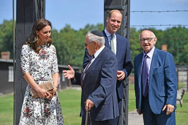 The Duke and Duchess of Cambridge first met Manfred Goldberg (left) and Zigi Shipper during their visit to Stutthof, a former Nazi concentration camp, in 2017. Bruce Adams/Daily Mail