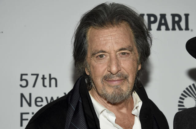 """Al Pacino attends the world premiere of """"The Irishman"""" at Alice Tully Hall during the opening night of the 57th New York Film Festival on Friday, Sept. 27, 2019, in New York. (Photo by Evan Agostini/Invision/AP)"""