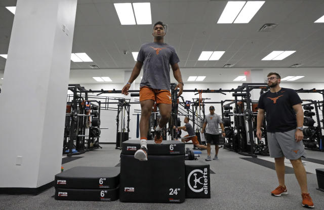 Texas Longhorns' Roschon Johnson works out Wednesday Sept. 4, 2019 in Austin, Tx. ( Photo by Edward A. Ornelas )