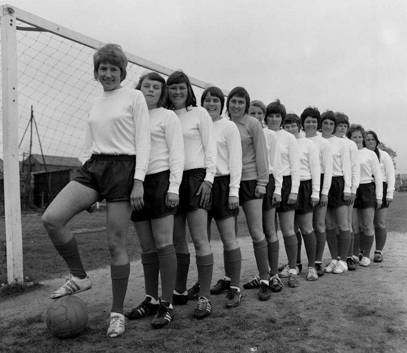 Players from Southampton Women line up in 1971, one year after the club was founded. The team won the first Women's FA Cup in 1971 and won it a further seven times in the following 10 years.