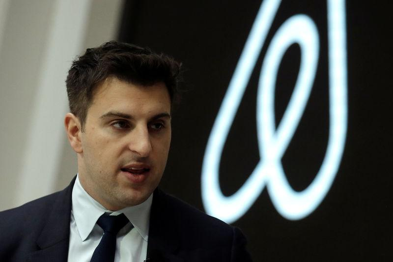 Brian Chesky, CEO and Co-founder of Airbnb, speaks to the Economic Club of New York at a luncheon at the New York Stock Exchange (NYSE) in New York