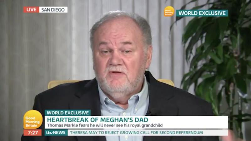 Meghan's father Thomas Markle speaking on Good Morning Britain in December [Photo: ITV]