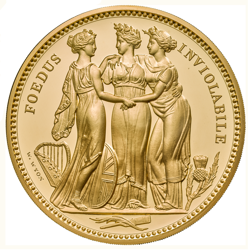 Three graces trial proof coin. Photo: Royal Mint