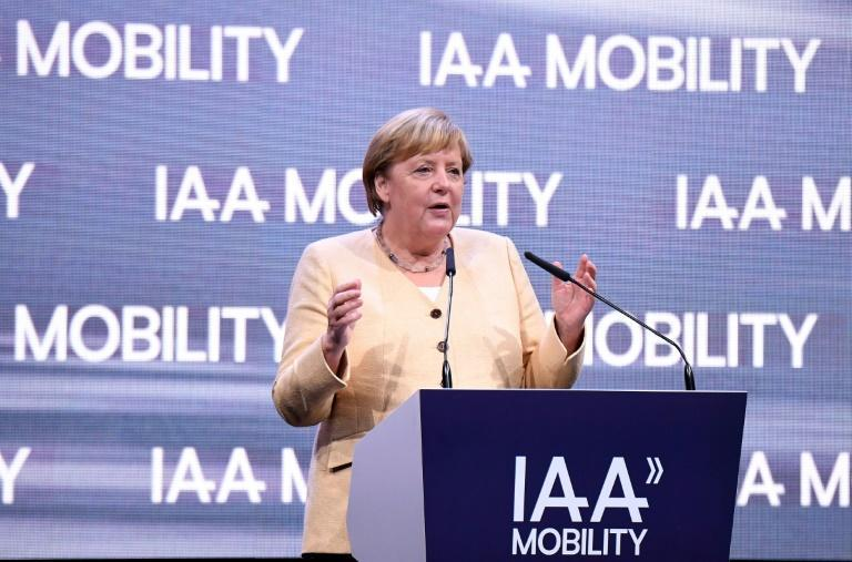 """Angela Merkel earned the sobriquet the """"car chancellor"""" for her past efforts to shield German carmakers from tougher EU pollution rules (AFP/Tobias SCHWARZ)"""