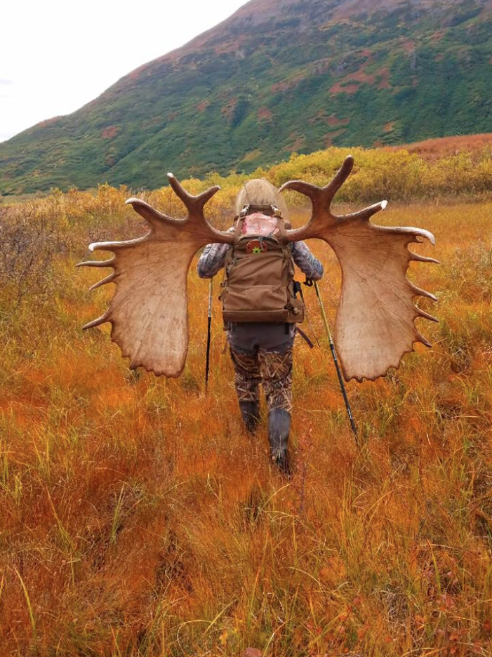 She also shared this photo of the moose's antlers strapped to her backpack. Photo: Facebook