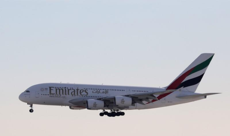FILE PHOTO: An Emirates Airbus A380 airliner, prepares to land at Nice international airport
