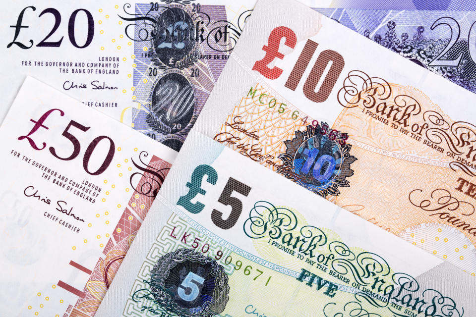 British Pounds a business background with money