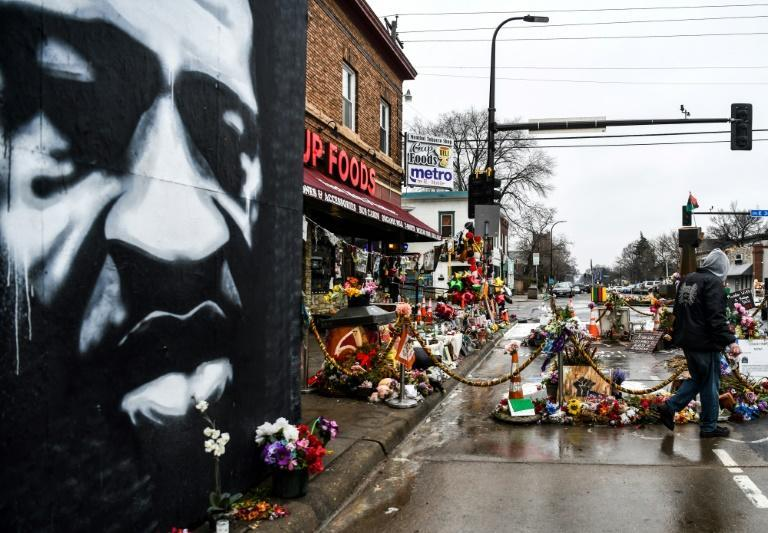 A memorial to George Floyd on the street where he died in Minneapolis, Minnesota
