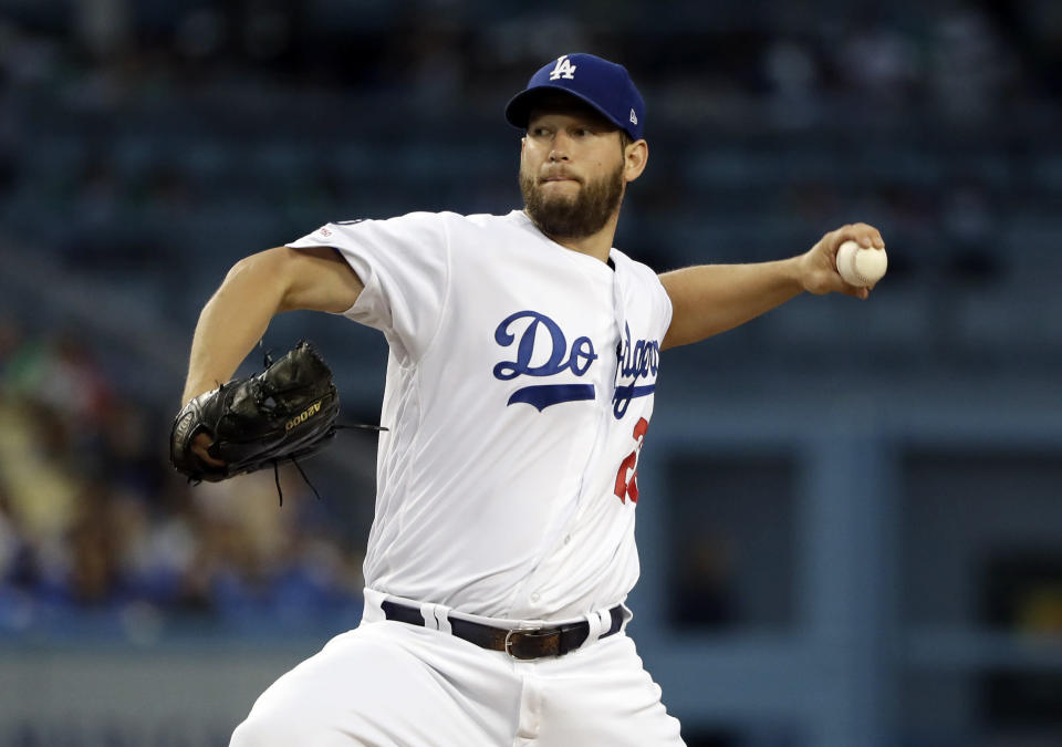 Los Angeles Dodgers starting pitcher Clayton Kershaw throws to an Atlanta Braves batter during the first inning of a baseball game Wednesday, May 8, 2019, in Los Angeles. (AP Photo/Marcio Jose Sanchez)