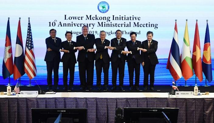 in Bangkok at an Association of Southeast Asian Nations summit. An August meeting in Bangkok marked a decade since the launch of the Lower Mekong Initiative, a US-funded development program (AFP Photo/Lillian SUWANRUMPHA )
