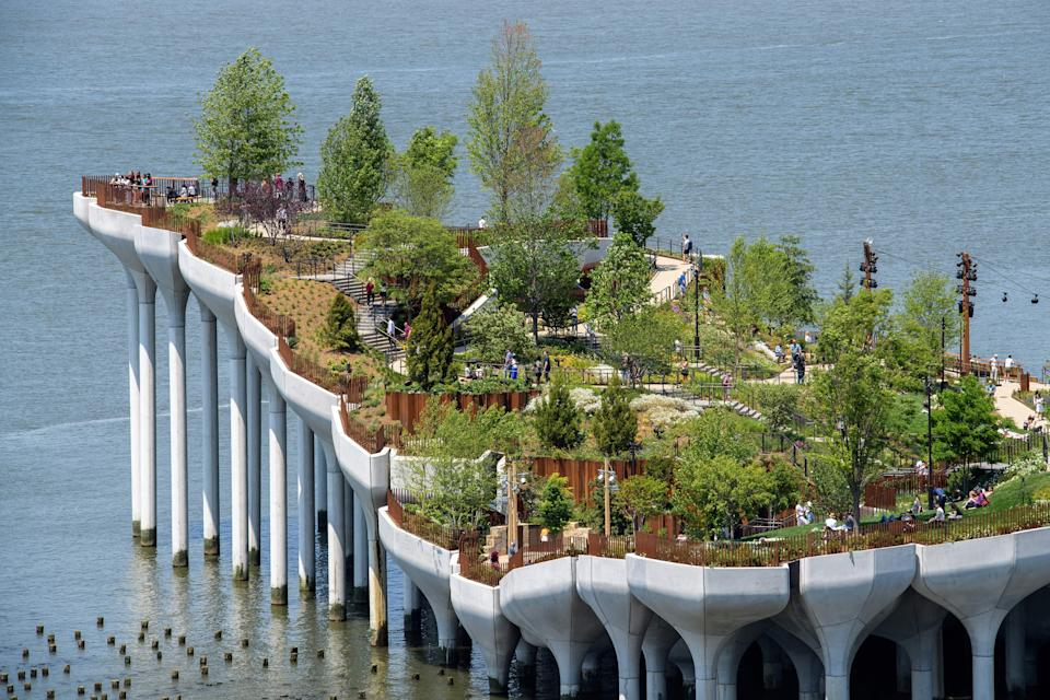 View of 'Little Island', a new, free public park in Hudson River Park on May 21, 2021 in New York City. (Photo by Angela Weiss / AFP via Getty Images)