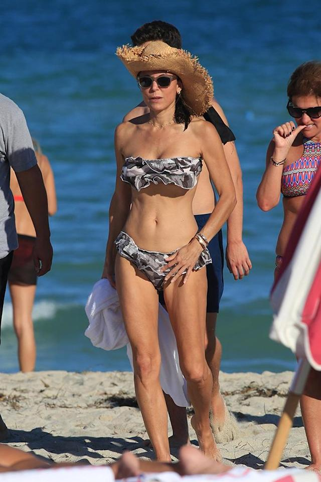 <p>The <em>Real Housewives of New York City </em>star took a break from saving the world and providing aid to Puerto Rico's hurricane victims to get some beach R&R. The 47-year-old strutted her stuff on a beach in Miami in a two-piece swimsuit and straw hat. (Photo: SBCH/BACKGRID)<br><br></p>