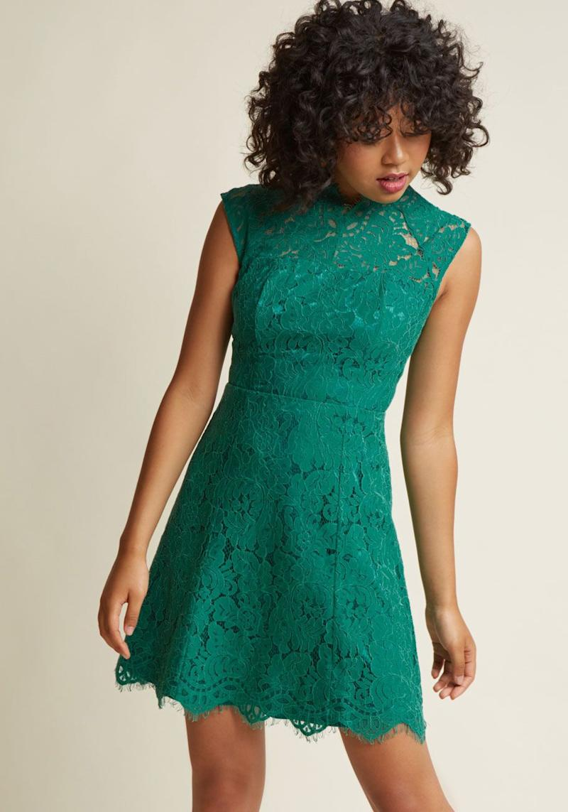 "We love this lace spearmint mini that can be worn for many special occasions to come. Get it <a href=""https://www.modcloth.com/shop/lace-dresses/celebrate-success-lace-dress/151828.html?dwvar_151828_color=JADE"" target=""_blank"">Modcloth for $90</a>."