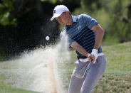 Jordan Spieth plays a shot from a bunker on the fifth hole during round-robin play at the Dell Technologies Match Play golf tournament, Thursday, March 28, 2019, in Austin, Texas. (AP Photo/Eric Gay)