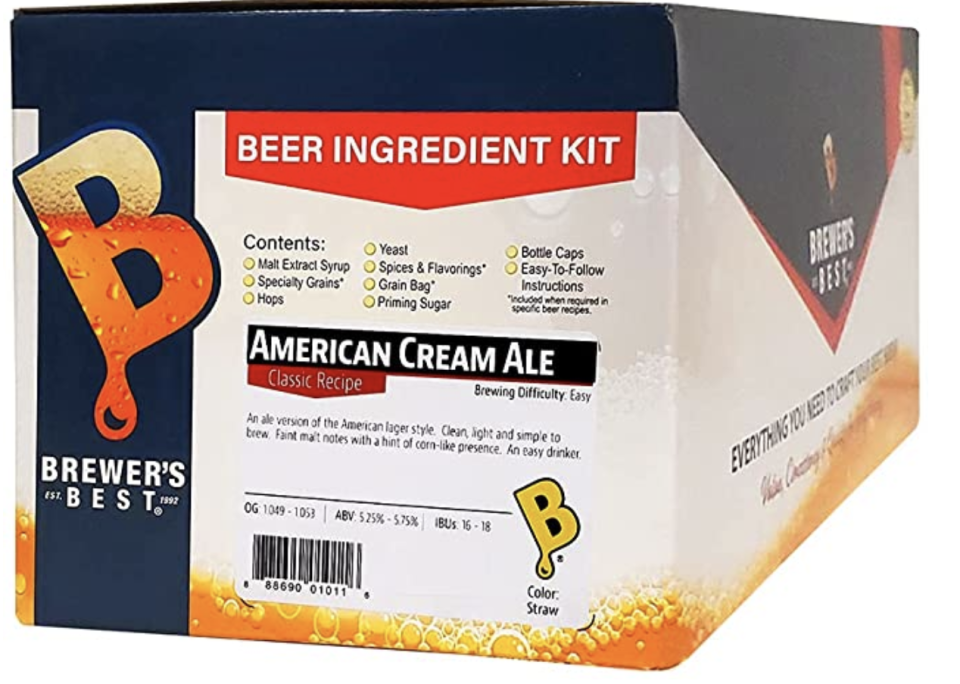Home Brew Beer Ingredient Kit, 5 gallons, American Cream Ale. PHOTO: Amazon