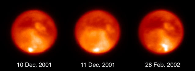 IN SPACE - VARIOUS DATES: In this series of images from the Keck telescope in Hawaii, patchs of white clouds are visible transiting the southern hemisphere of Saturn's largest moon Titan from December 2001 to February 2002. Scientist from the California Institute of Technology and the University of California observed for the first time clouds forming and dissipating on Titan. (Photo by M.E. Brown, A.H. Bouchez, C.A. Griffith/Keck Observatory/Getty Images)