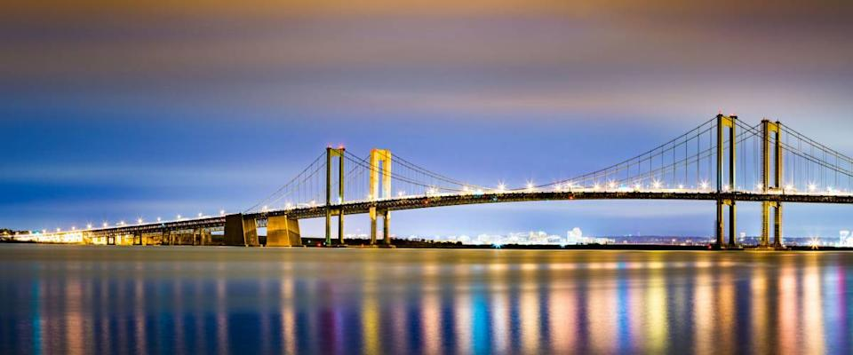 Delaware Memorial Bridge by night, looking at the Delaware side from New Jersey.