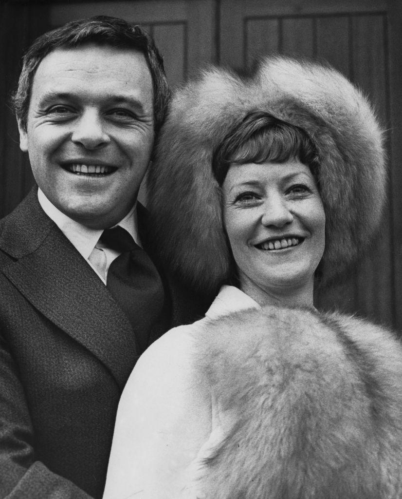 <p>The <em>Silence of the Lambs </em>actor and his film assistant wife are all smiles following their nuptials at Barnes Methodist Church on January 13, 1973. They stayed married for 29 years, divorcing in 2002. The Welsh Academy Award winner married Stella Arroyave the following year. </p>