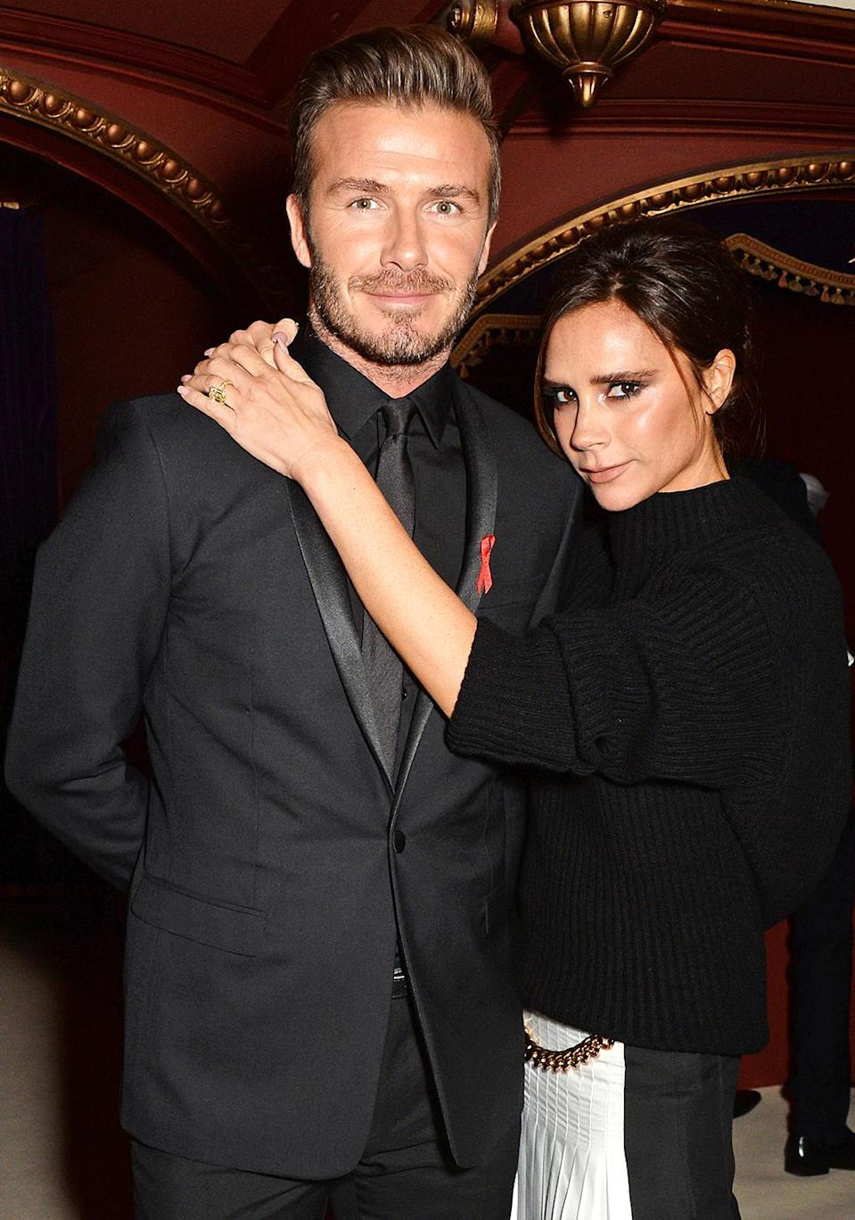"""<p>David Beckham developed a thing for Victoria when he saw her in the Spice Girls' video """"Say You'll Be There."""" In a recent <a rel=""""nofollow"""" href=""""https://www.yahoo.com/celebrity/david-beckham-reveals-victoria-renewed-184535030.html"""" data-ylk=""""slk:interview;outcm:mb_qualified_link;_E:mb_qualified_link;ct:story;"""" class=""""link rapid-noclick-resp yahoo-link"""">interview</a> with BBC Radio 4's Desert Island Disc, he revealed that he knew she fancied him back when she started turning up at his soccer matches. """"She was never into football,"""" he recalled. """"I'd seen her the week before, and I must have caught her eye because then the week after she came to another game. She was obviously there for a reason, and I was hoping I was that reason, and apparently I was."""" The couple, who have four children, married in 1999 and recently renewed their wedding vows. (Photo: David M. Benett/Getty Images) </p>"""