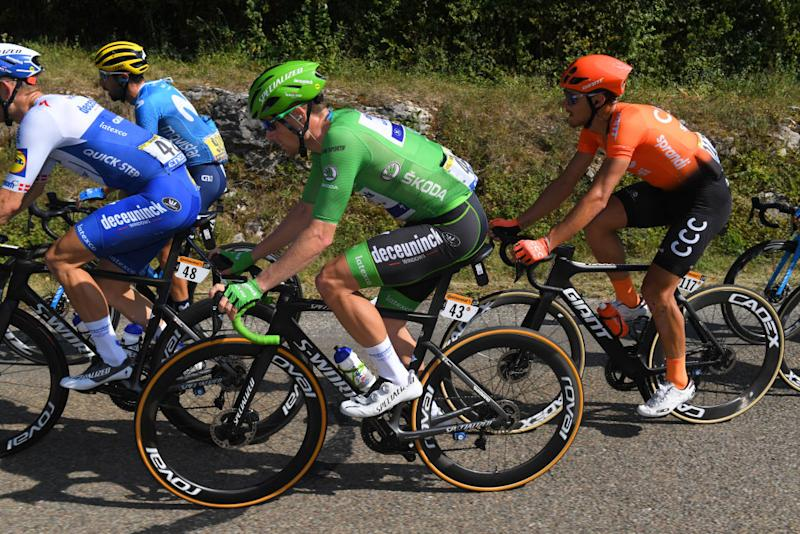 CHAMPAGNOLE FRANCE SEPTEMBER 18 Sam Bennett of Ireland and Team Deceuninck QuickStep Green Points Jersey Matteo Trentin of Italy and CCC Team during 107th Tour de France 2020 Stage 19 a 1665km stage from Bourg en Bresse to Champagnole 547m TDF2020 LeTour on September 18 2020 in Champagnole France Photo by Tim de WaeleGetty Images