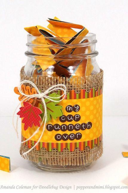 """<p>Have little ones—or everyone!—share what they're thankful for by placing this jar, strips of paper, and a few pens at the table. After dinner, wrap up your feast on a sweet note by having kiddos read the slips aloud while dessert is served.</p><p><strong>Get the tutorial at <a href=""""http://www.doodlebugblog.com/2013/11/give-thanks-project-give-thanks-jars.html#.W7KPUpNKjWY"""" rel=""""nofollow noopener"""" target=""""_blank"""" data-ylk=""""slk:Doodle Bug Blog"""" class=""""link rapid-noclick-resp"""">Doodle Bug Blog</a>.</strong></p><p><strong><a class=""""link rapid-noclick-resp"""" href=""""https://www.amazon.com/12-Ball-Mason-Jar-Lid/dp/B014V7RSE8/?tag=syn-yahoo-20&ascsubtag=%5Bartid%7C10050.g.1201%5Bsrc%7Cyahoo-us"""" rel=""""nofollow noopener"""" target=""""_blank"""" data-ylk=""""slk:SHOP MASON JARS"""">SHOP MASON JARS</a><br></strong></p>"""