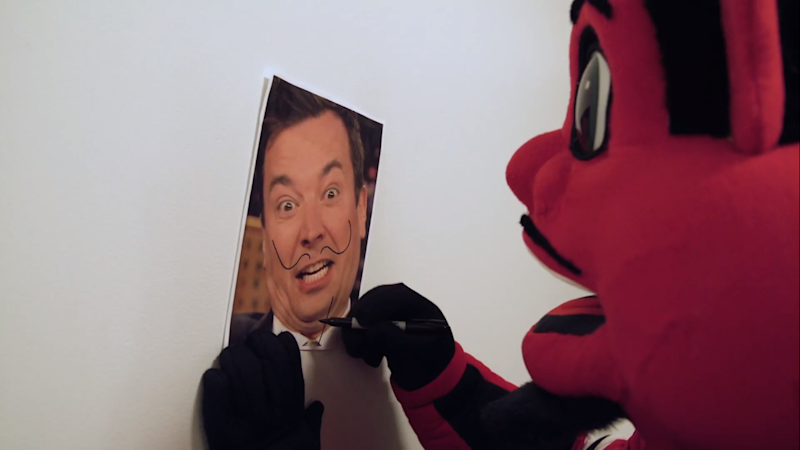 New Jersey Devils mascot, NJ Devil, is ready to throw a pie in the face of Jimmy Fallon. (YouTube/New Jersey Devils)
