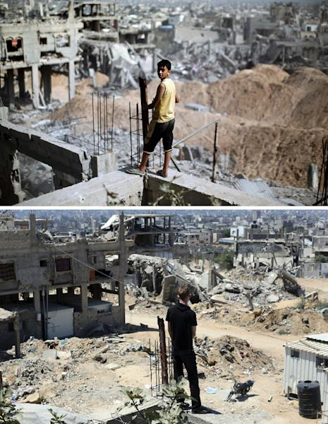 A combination of pictures made on July 3, 2015, shows (top) a Palestinian youth looking at the destruction in Gaza City's al-Tufah neighbourhood on August 6, 2014, and the same place (bottom) on July 3, 2015, a year later (AFP Photo/Mahmud Hams)