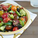 <p>In this cucumber and tomato salad recipe, preserved lemon adds a tangy, salty bite. Serve this healthy salad as an accompaniment to dishes like grilled lamb or chicken or as a side on a bed of finely julienned purple kale, lightly dressed with more olive oil and lemon juice. Look for preserved lemons at specialty-foods stores. Or, to make your own, see our Preserved Lemons recipe on eatingwell.com.</p>
