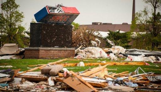 <p>Damaged sustained to South West Community College following a tornado in Creston, Iowa. Residents picking through their damaged homes braced for more tornadoes across the US Midwest Sunday after dozens touched down in the region, killing five people in Oklahoma.</p>