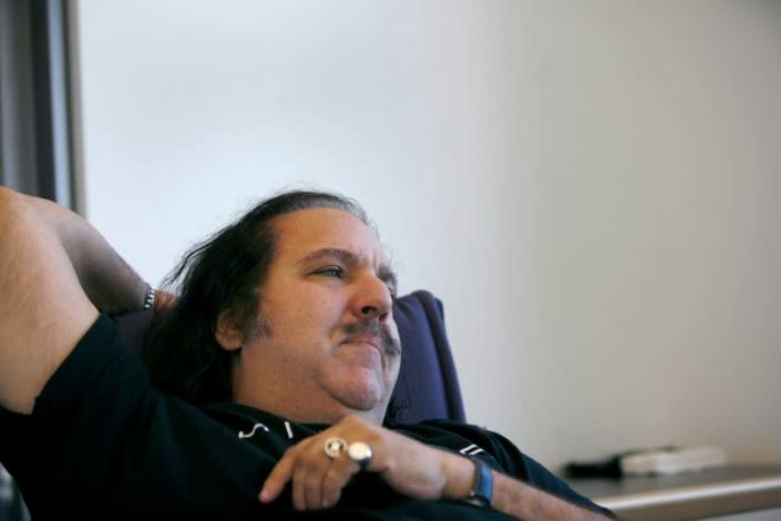 Adult film star Ron Jeremy pauses during an interview with Reuters in New York