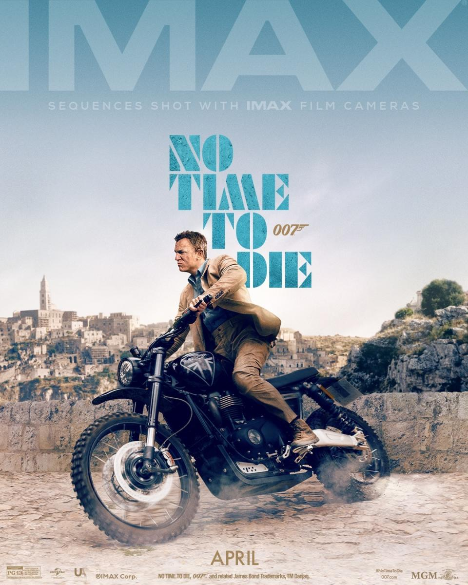 The IMAX poster for <em>No Time To Die </em>highlights a key sequence in the film, shot in the picturesque Matera, Italy. (Universal/MGM/Eon)